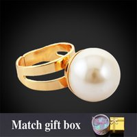 big jewellery box - New White Pearl Cool Rings For Women With Gift Box K Yellow Gold Plated MM Big Size Adjustable Jewelry Jewellery R101