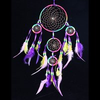 Wholesale Handmade Colorful Dream Catcher Circular Net With feathers Wall Hanging Decoration Decor Ornament