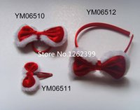 Wholesale 2015 new arrive Christmas headband wear hair wear hair pins hair bowknot red color for girl woman three model pair