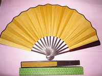 art quality fold - High quality Pure Yellow Folding Silk Dance Props Fans Decorative DIY Fine Art Painting Programs Hand held Fan