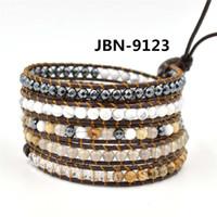 Wholesale infinity bracelet Leather wrap Bracelet layer charm Bracelet with mm semi precious stone bracelet charms jewelry JBN