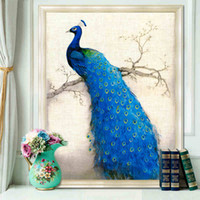 antique framed art - DIY Painting D cross stitch diamond embroidery diamond painting round stone peacock for home wall wedding decoration no frame