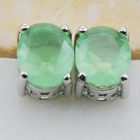 Wholesale Prehnite Sterling Silver Stud Earrings PE07 This item Min order is