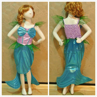 Wholesale Girls Ariel Children Mermaid Tail Princess Dress Costume for Kids Halloween Cosplay Performance Fantasia Party Clothing