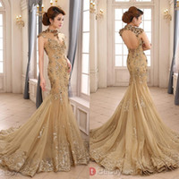 Trumpet/Mermaid short evening - 2015 Backless High Neck With Capped Short Sleeves Champagne Long Evening Gowns Zuhair Murad Mermaid Lace Formal Dresses Evening SW03579