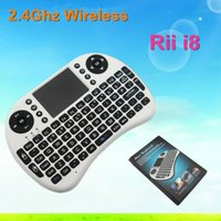 Wholesale 10pcs Fly Air Mouse G RII Mini i8 Wireless QWERTY Keyboard Mouse Touchpad for PC Notebook Android TV Box HTPC Black white in stock