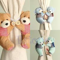 Wholesale 1 Pair Baby Kid Cartoon Bear Holder Nursery Bedroom Curtain Tieback Buckle Hook Colors
