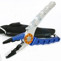hook remover - Deluxe Aluminum blue and silver color stainless steel jaws bent nose hook remover fishing plier