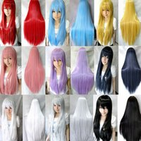 Wholesale candy colors women heat resistant Pink Brown Black Blue Red Yellow white Blonde Green straight cosplay wigs