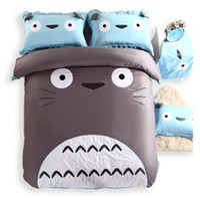 big blue machine - cotton totoro bedding set cartoon cute big face bed linen cat duvet cover pillowcase flat sheet queen size king christmas