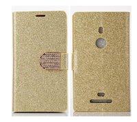 al por mayor diamante de cuero del brillo chispeante-Sparkle brillo Bling piel de la cartera de cuero de diamante de la contraportada Flip de tarjeta de crédito caso titular de los casos de soporte para Nokia Lumia 925 630 N925 N630 1pcs