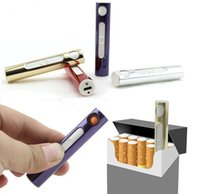 Wholesale USB Electronic Rechargeable Flameless Cigar Cigarette Lighter Women Mini Lipstick Windproof Rechargeable Cigarette Flameless Lighter Colors