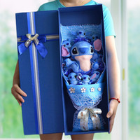 Wholesale Artificial Flowers Cartoon Stitch Festivals Gift Bouquet For Valentine s Day Love Christmas Gift with Pretty Gift Box