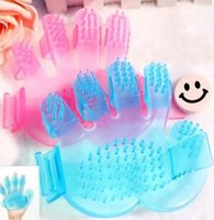 Wholesale Palm Style Puppy Pet Dog Shower Brush Massage Comb For Dog Brush Pets Health Blue Pink