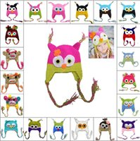 Wholesale 45 Design Owl and monkey earFlap crochet hat Baby Kids wool weaving hat hand woven Baby Hat Knitting Wool Monkey hat Animal hat