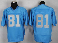 Football Men Short Cheap #81 Elite Authentic American Football Jerseys Light Blue with Silver Number Embroidered High Quality Athletic Outdoor Jersey for Sale