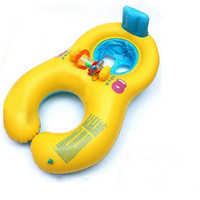 Wholesale Soft material Inflatable Mother Baby Swim Float Raft Kids Chair Seat Double Person Swimming Ring Pool