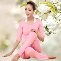 Wholesale 2015 New Fashion Pure Color Modal Breathable Yoga Suit with Short Middle and Long Sleeve for Spring and Summer