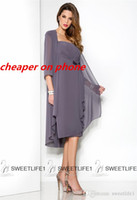 mother of bride chiffon dress - 2016 Hot Mother s Dresses Plus Size Chiffon Knee Length Mother of the Bride Dresses with Jacket Half Sleeves Ruched Beads Cheap Popular Gown