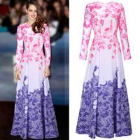 Wholesale Hot big show flower print gradient long sleeve full dress runway catwalk floral print gradient fit and flare long dress
