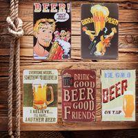 Cheap Vintage Beer Letters Cool Metal Art Poster Wall Decor Suitable For Pub Bar Home Retro Untique Decoration