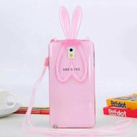 beautiful cords - Beautiful D Rabbit Bunny Ears Stand Transparent Cover Soft TPU Case For Samsung Galaxy Note N9100 with Cord Strap MOQ