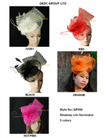 Silk Flower fascinator hat - NEW ARRIVAL large sinamay fascinator hat crin fascinator with Feathers for kentucky derby and wedding red ivory