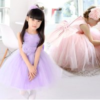Wholesale New Summer Baby Kids bowknot princess Lace Mini Party Dress Purple Pink Flower Girl Wear Wedding Organza Dress Children Clothing SV012372