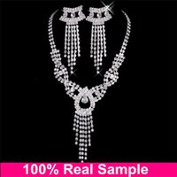 accessories for v neck dress - Cheap Bridal Jewelry Sets Silver Crystal Statement Necklaces and Chandelier Stud Rhinstone Earrings Arabic Luxury For V Neck Dress Accessory