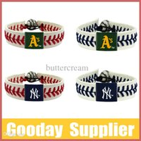Wholesale MLB Baseball cow leather braided bracelet porcelain beads bracelet Detroit Tigers baseball Bracelet MLB50