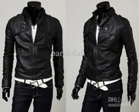 Wholesale 2016 Cool Men Jacket Faux Leather Motorcycle Jacket Slim Stand up PU Leather Motorcycle Jacket Coat Cool Man Jacket Outwear US Size