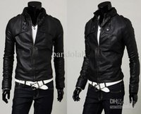 Wholesale 2017 Cool Men Jacket Faux Leather Motorcycle Jacket Slim Stand up PU Leather Coat Cool Man Jacket Outwear US Size