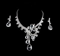 Wholesale Crystal Silver Rhinestone Necklace Earrings Jewelry Sets edding Accessories Cheap Wedding Bridal Prom Cocktail Evening Dresses Accessories