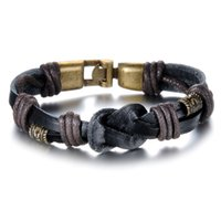 men jewelry accessory - Vintage Handmade Double Layer Leather Bracelets Personalized Fashion MM Width Knitted Men Jewelry Charm Design Accessories