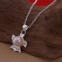 Cheap Trade jewelry wholesale 925 sterling silver necklaces Korean pop pearl necklace flying fish a lot of cash