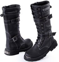 amy shoes - Men s Knee High Boots High Top Leather Shoes Punk Buckles Side Zipper Lace Up PU Leather Winter Casual Martin Combat Amy Boots US Size