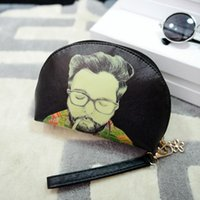 Cheap Wholesale-New fashion famous designer purses and handbags 2015 high quality cheap wallet solid leather purses Cartoon printed Clutch