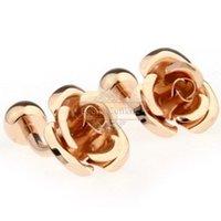 Wholesale Spot Golden Rose cufflinks cufflinks AE1466 Metal Craft