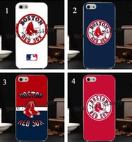 apple sox - 4pcs mlb Boston red sox Hard Skin transparent stealth Case Cover for iPhone s s c