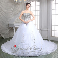 Wholesale Luxury Charming Ball Wedding Dresses Real Image Shining Lace Up Formal Prom Gown Strapless Applique Crystals In Stock Bridal Dresses