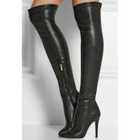 Wholesale Woman Long Boots Black Cowhide Leather Roman Style Import Stretch Deerskin Leather Over The Knee Boots Side Zipper Round Head Stiletto Heel