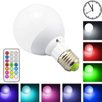 Wholesale 2015 New Dimmable RGB LED Light Bulb E27 W color warm White LED Spot Lamp With Key IR Remote Controller With Timing Function Wall la