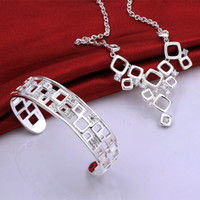 Wholesale Wedding Jewelry Sterling Silver AAAAA Zircon Crystal Square Necklace Bangle Jewelry set