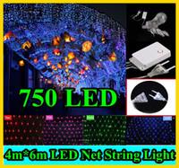 10pcs 4 * 6m 750 LED chaîne lumière net 9 modes de flash 110V 220V UE américains avec Plug Power STRI Décorations de Noël Xmas Party mariage 750LED net