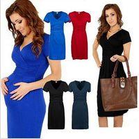 Wholesale Freeshipping women summer dresses sexy V neck elasitc fold pure color pregnant casual dresses Color clothing for pregnant free shippi