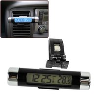 Wholesale 2in1 Clip on Lcd Practical Car Thermometer Automotive Digital Clock Backlight Drop Shipping CAR