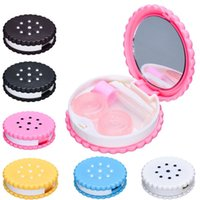 Wholesale Amazing cm Cartoon Biscuit Shape Travel Cute Eye Contact Lens Case Box for Eyewear Accessories Candy Color