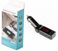al por mayor mp3 mp4 pantalla-Car MP3 Player Transmisor FM con cargador de coche Pantalla LED y 2 USB Line-in Bluetooth habilitado BC06