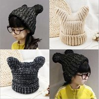 age cut - Children Wollen Caps Winter New Arrival Fashion Girls Casual Hats Keep Warm Cut Modelling Kids Hats Fit Age T1468