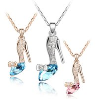 shoe chains - 2015 cinderella neckless glass shoes pendant gold and silver crystal neckless chain